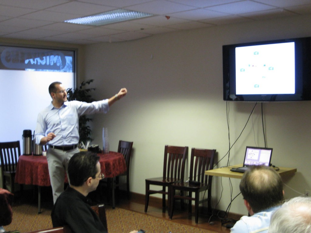 Photo of Bechara presenting at our Google+ meetup