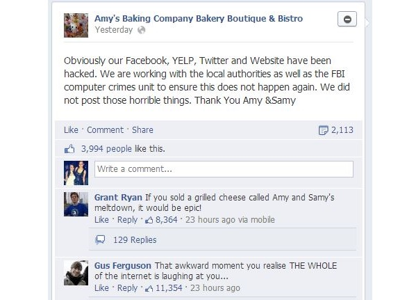 Amy's Baking Company Blames Hackers