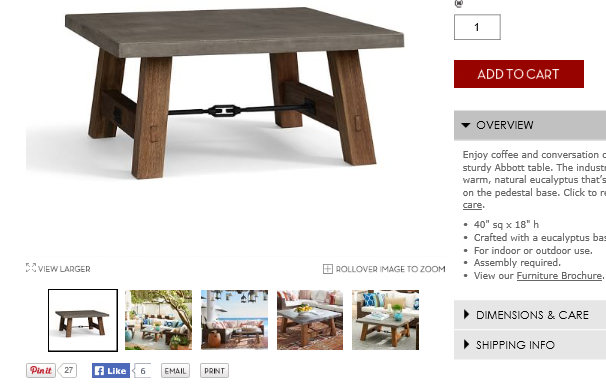 Pottery Barn incorporated a Pin It button underneath the product image on their eCommerce product page.