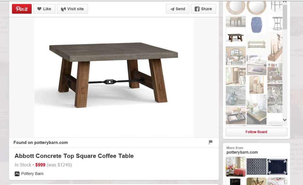 More detailed pop-out screen that appears when Pinterest users click on a desirable image on their Pinterest feeds.