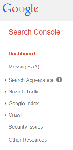 Google Search Console Site Messages