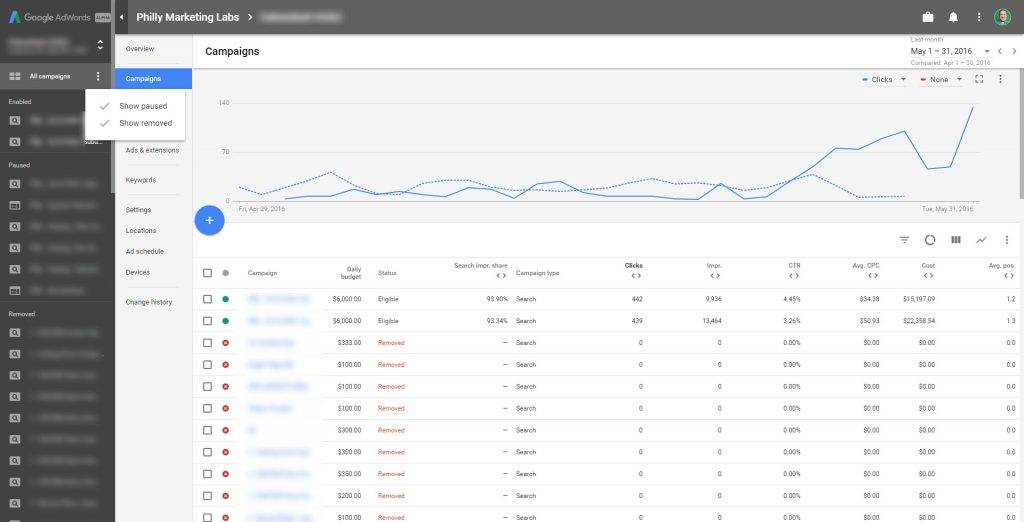 The new AdWords user interface has a sleek and improved navigation.